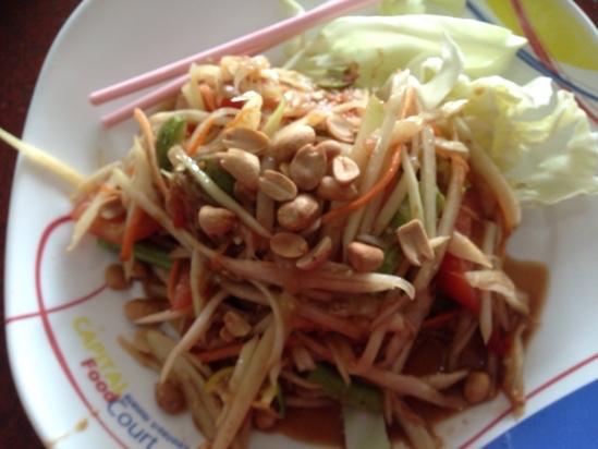 バンコクからラオス列車の旅 パパイヤのサラダ