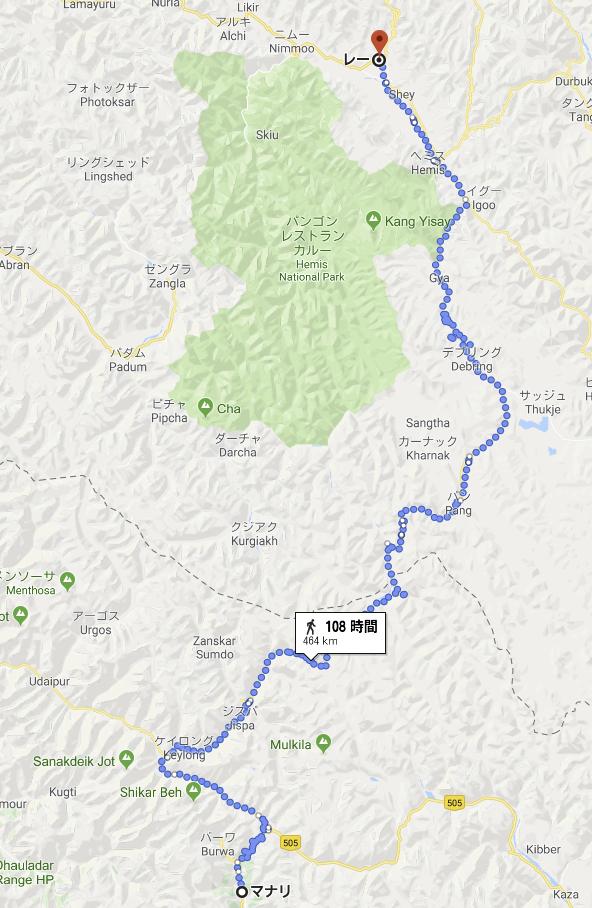 マナリからレーまでの地図