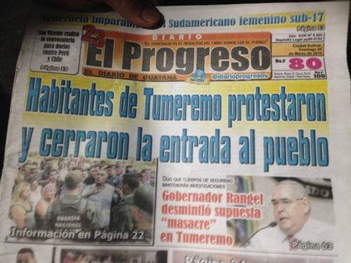 ベネズエラの新聞「トゥメレモの住民は抗議し、町への入り口を閉鎖します」
