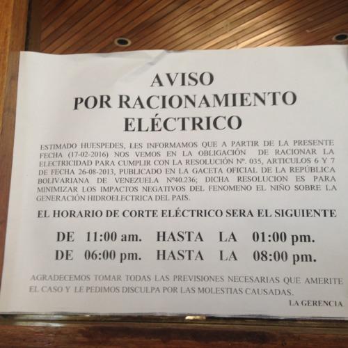 マルゲリータ島の計画停電