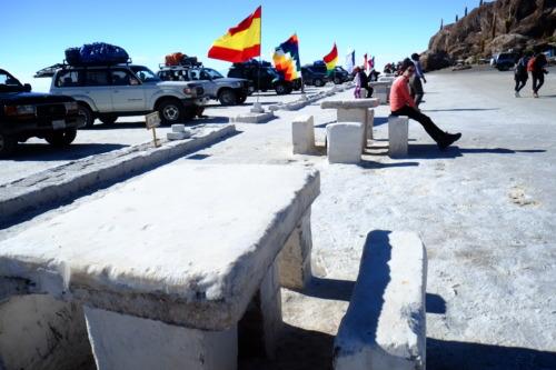 ウユニ塩湖ツアーでインカワシを訪れる